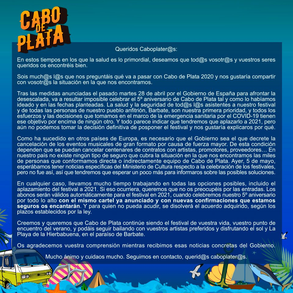 COMUNICADO OFICIAL SOBRE LA SITUACIÓN ACTUAL DEL FESTIVAL CABO DE PLATA