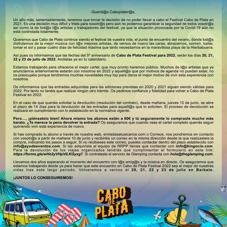 COMUNICADO DE APLAZAMIENTO DE CABO DE PLATA 2021